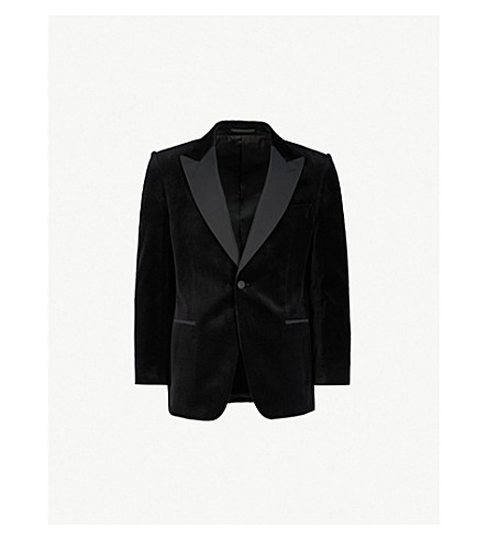 GIEVES & HAWKES Regular-fit velvet blazer (Black