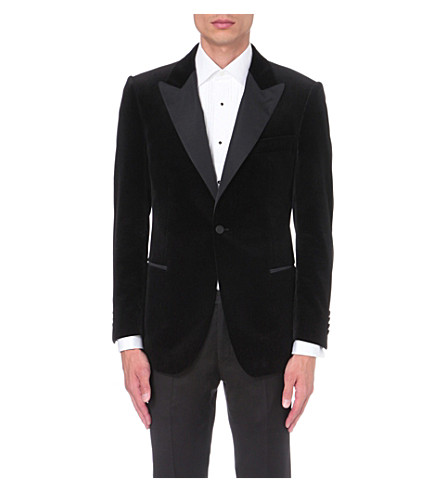 GIEVES & HAWKES Regular-fit velvet jacket (Black