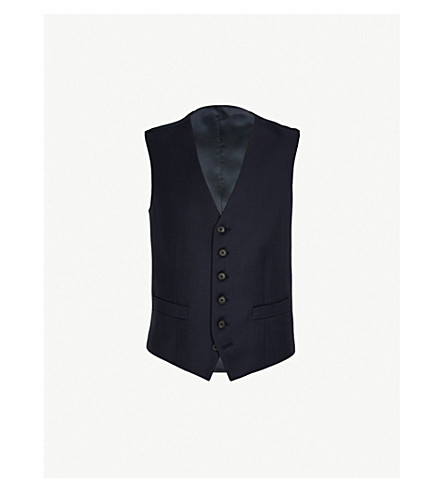GIEVES & HAWKES Single-breasted wool waistcoat (Navy