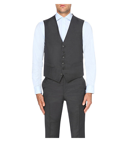 GIEVES & HAWKES Single-breasted wool waistcoat (Charcoal