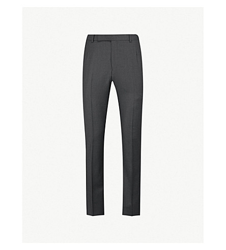 GIEVES & HAWKES Tapered wool trousers (Charcoal