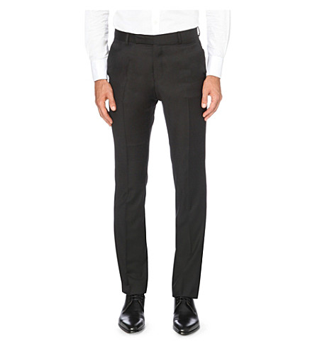 GIEVES & HAWKES Tapered wool trousers (Black