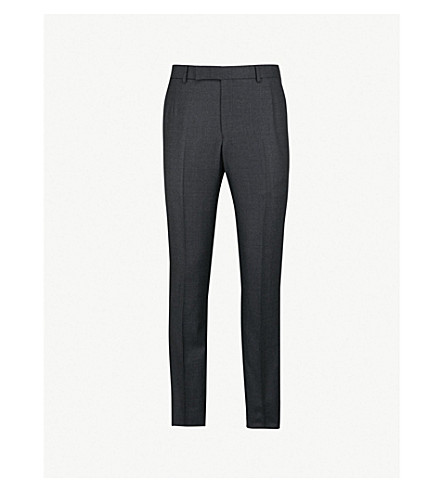 GIEVES & HAWKES Birdseye-pattern slim-fit tapered wool pants (Charcoal