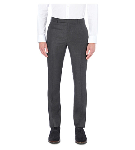 GIEVES & HAWKES Birdseye-pattern slim-fit tapered wool trousers (Charcoal