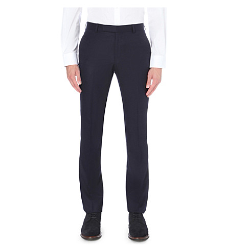 GIEVES & HAWKES Slim-fit tapered wool-flannel trousers (Navy
