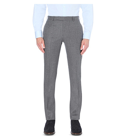 GIEVES & HAWKES Slim-fit tapered wool-flannel trousers (Grey