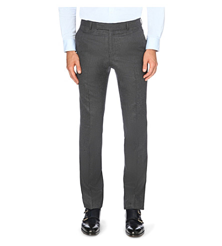 GIEVES & HAWKES Slim-fit tapered wool-flannel trousers (Charcoal
