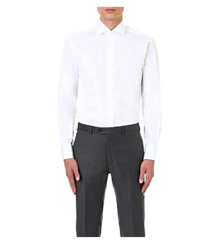 GIEVES & HAWKES Tailored-fit cotton shirt (White