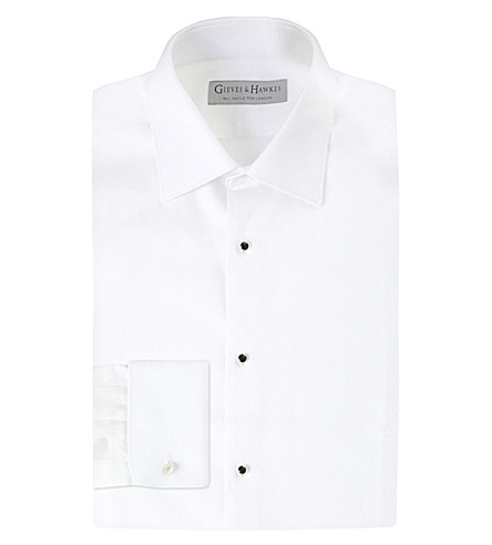 GIEVES & HAWKES Marcella tailored-fit cotton dinner shirt (White