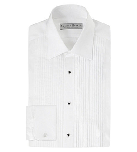 GIEVES & HAWKES Pleated tailored-fit cotton dinner shirt (White