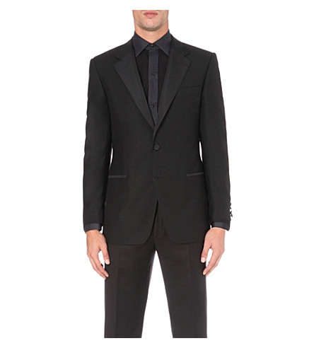 GIEVES & HAWKES Regular-fit wool and mohair-blend dinner jacket (Black