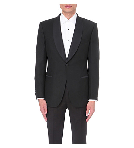 GIEVES & HAWKES Regular-fit wool and mohair-blend jacket (Black