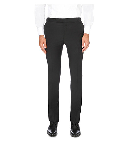 GIEVES & HAWKES Tapered wool and mohair-blend trousers (Black