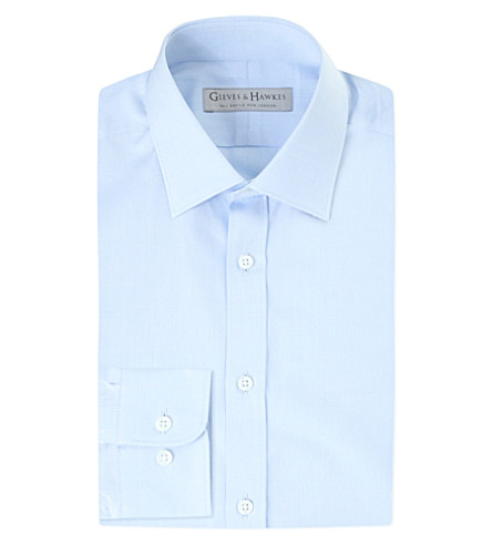 GIEVES & HAWKES Tailored-fit cotton shirt (Blue