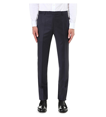 GIEVES & HAWKES Regular-fit straight wool trousers (Navy