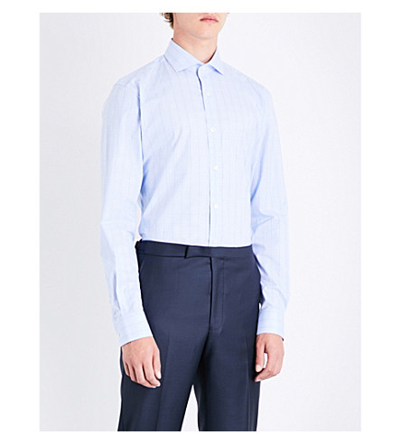 GIEVES & HAWKES Checked slim-fit cotton shirt (Blue