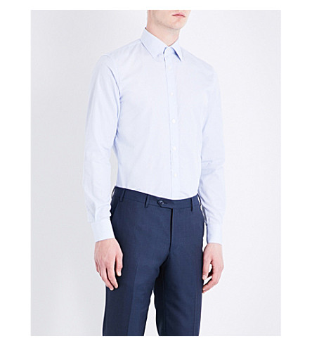 GIEVES & HAWKES Striped tailored-fit cotton shirt (Blue