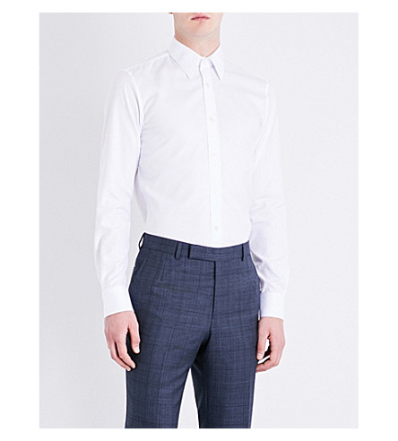 GIEVES & HAWKES Tailored-fit cotton-twill shirt (White