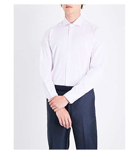 GIEVES & HAWKES Regular-fit cotton shirt (Lilac