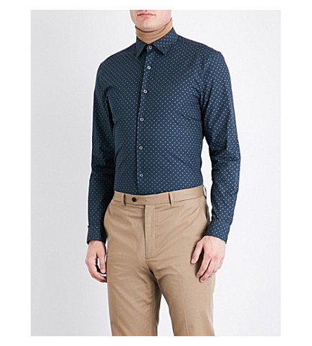 GIEVES & HAWKES Micro tile=patterened regular-fit cotton shirt (Navy