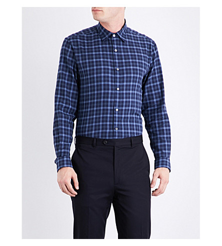 GIEVES & HAWKES Checked regular-fit cotton shirt (Blue
