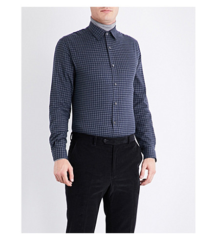 GIEVES & HAWKES Checked regular-fit cotton shirt (Navy