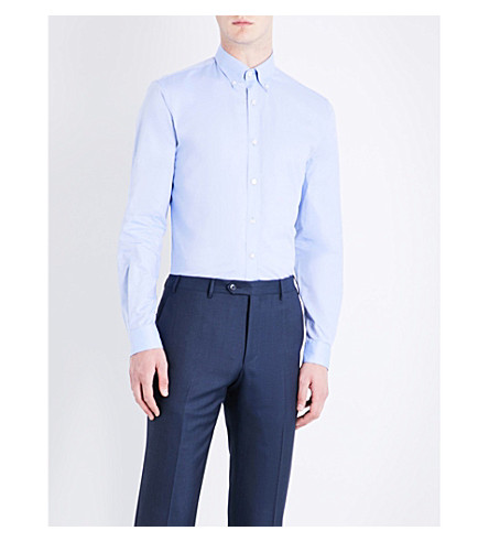 GIEVES & HAWKES Tailored-fit button-down cotton Oxford shirt (Blue