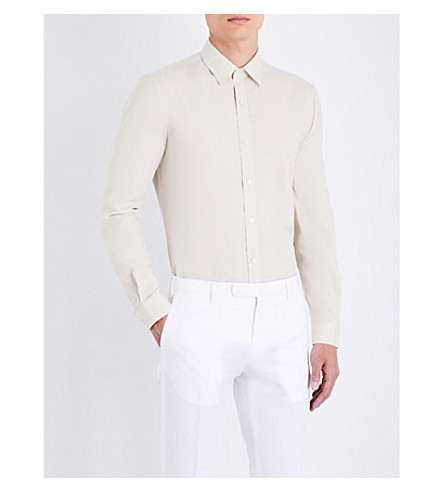GIEVES & HAWKES Tailored-fit cotton and cashmere-blend shirt (Cream