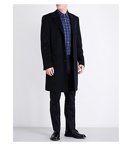 GIEVES & HAWKES Notch-lapel single-breasted wool and cashmere-blend overcoat (Navy