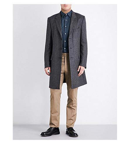 GIEVES & HAWKES Herringbone alpaca wool overcoat (Charcoal