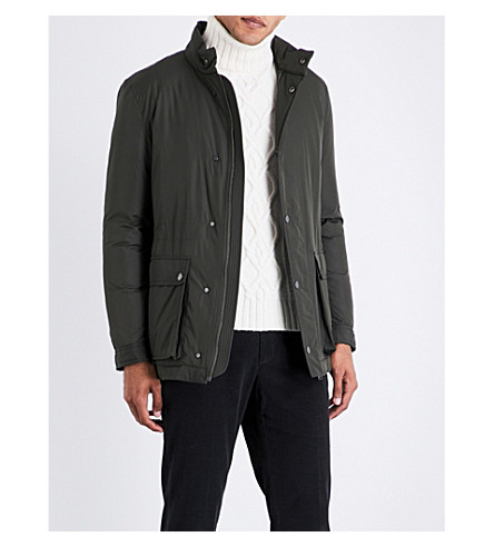 GIEVES & HAWKES Patch-pocket shell-down coat (Green