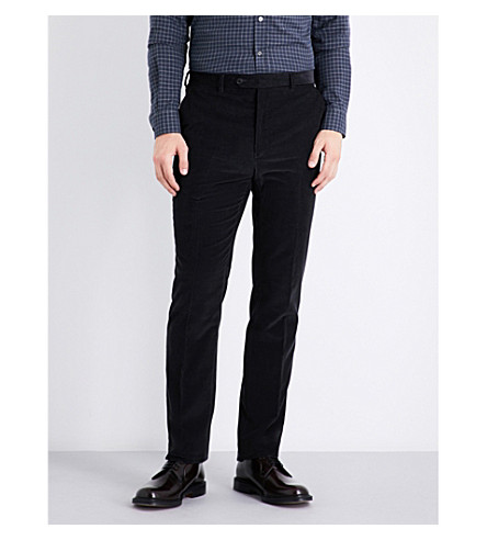 GIEVES & HAWKES Slim-fit tapered corduroy chinos (Charcoal