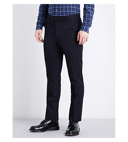 GIEVES & HAWKES Slim-fit tapered cotton chinos (Dark+navy