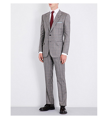 GIEVES & HAWKES Checked regular-fit wool suit (Brown