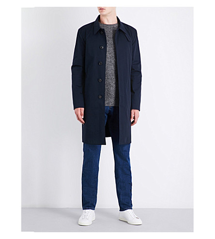 GIEVES & HAWKES Monrow collared cotton-twill overcoat (Navy