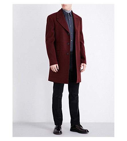 GIEVES & HAWKES Single-breasted wool coat (Bordeaux