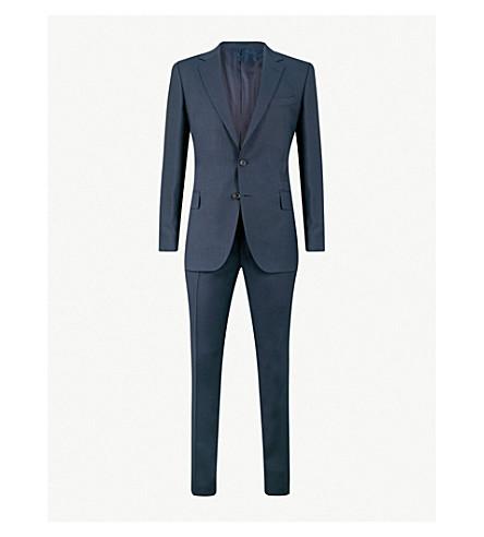 GIEVES & HAWKES Birdseye regular-fit virgin-wool suit (Navy