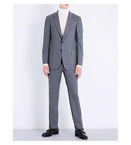 GIEVES & HAWKES Checked regular-fit stretch-wool suit (Grey