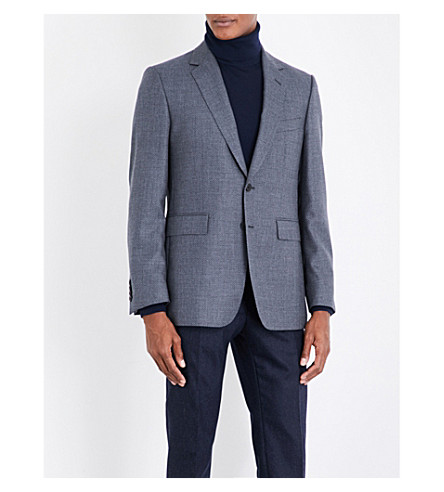 GIEVES & HAWKES Geometric-pattern regular-fit wool, cashmere and silk-blend jacket (Dark+grey