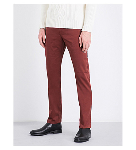 GIEVES & HAWKES Slim-fit tapered stretch-cotton chinos (Red