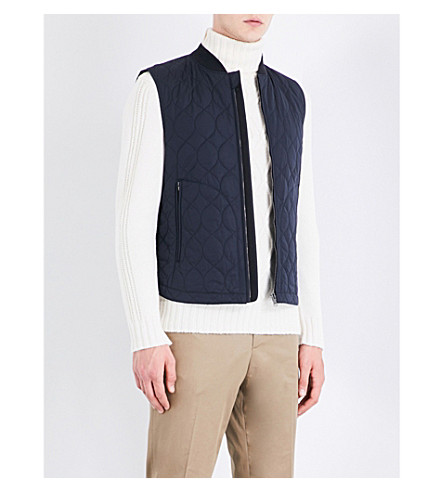 GIEVES & HAWKES Quilted stretch-cotton vest (Navy