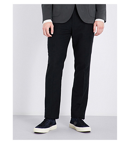 GIEVES & HAWKES Slim-fit straight cotton chinos (Black