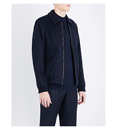 GIEVES & HAWKES Collared wool-blend bomber jacket (Navy/bordeux