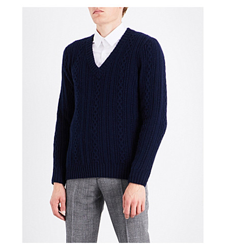 GIEVES & HAWKES Braid-knit wool and alpaca-blend jumper (Navy
