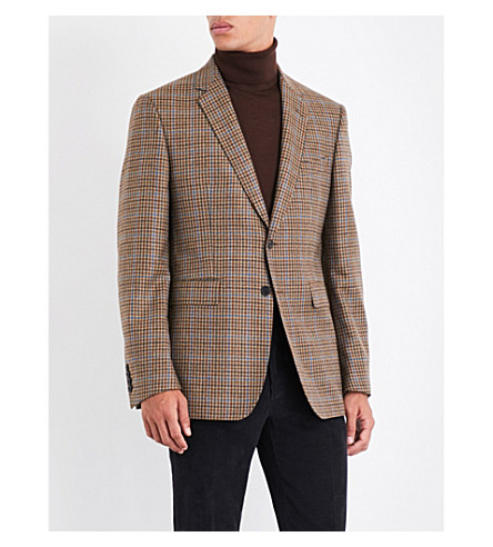 GIEVES & HAWKES Checked regular-fit wool and cashmere-blend jacket (Brown