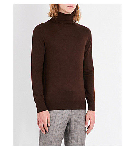 GIEVES & HAWKES Turtleneck cashmere, wool and silk-blend sweater (Chocolate