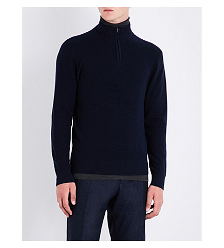 GIEVES & HAWKES Zip-up wool jumper (Navy