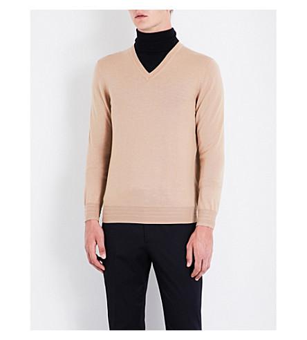 GIEVES & HAWKES V-neck wool jumper (Sand