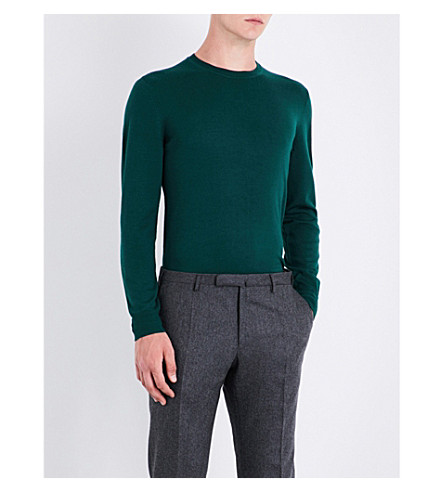 GIEVES & HAWKES Crewneck wool jumper (Dark+green