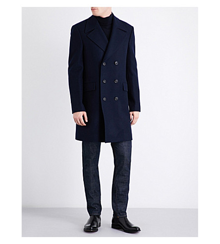 GIEVES & HAWKES Double-breasted wool coat (Navy/bordeux